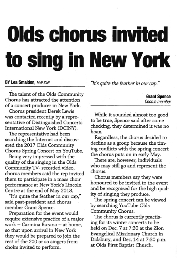 Olds chorus invited to sing in New York